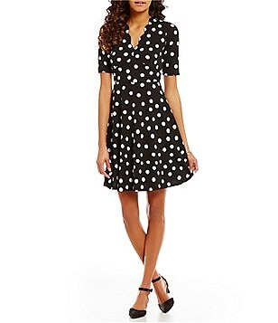 London Times Polka-Dot Scalloped V-Neck Fit-and-Flare Dress