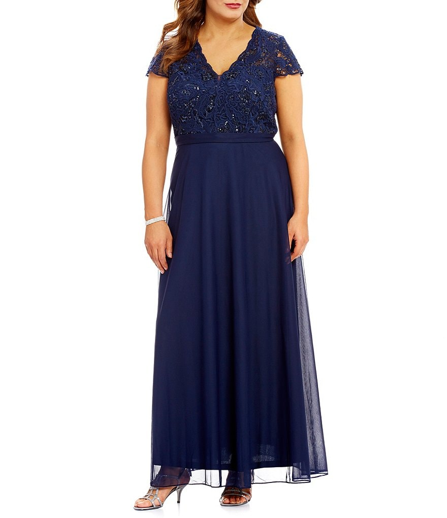 Cachet Plus Cap-Sleeve Lace-Bodice Gown