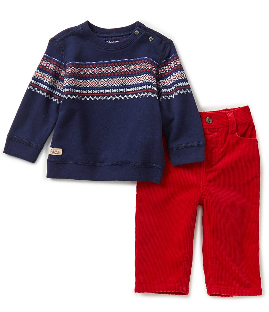 Ralph Lauren Childrenswear Baby Boys 3-24 Months Fair Isle Printed Fleece Sweatshirt & Corduroy Pant