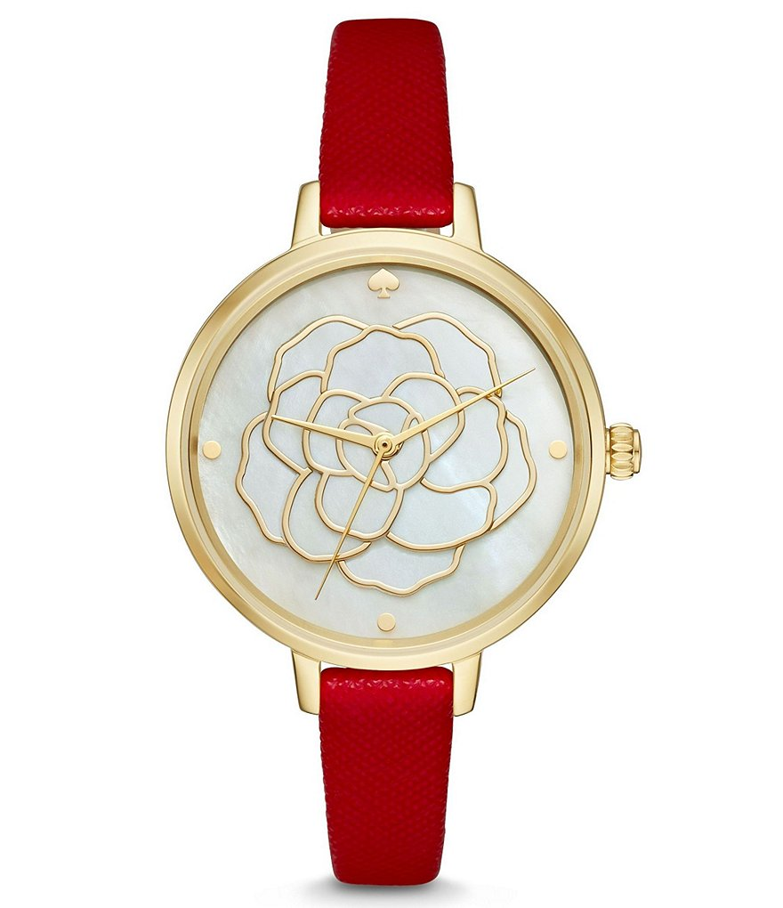 kate spade new york Metro Mother-of-Pearl Flower Leather-Strap Watch