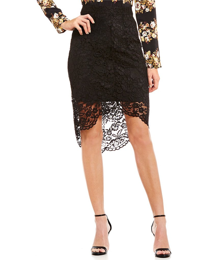 WAYF Beat The Drum Lace Pencil Skirt