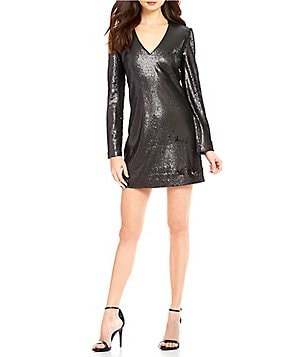 WAYF V-Neck Long Sleeve All Over Sequined Dress