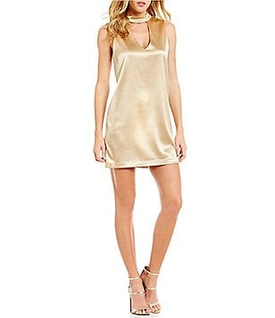 WAYF Gold Leash Choker Neck Sleeveless Shift Dress