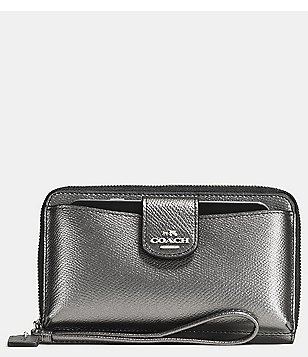 COACH BOXED UNIVERSAL WALLET WITH PHONE POCKET IN METALLIC LEATHER
