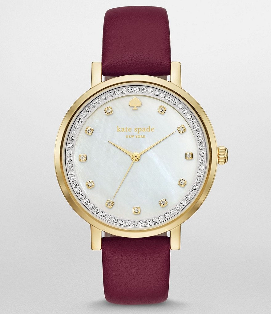 kate spade new york Monterey Mother-of-Pearl Analog Leather-Strap Watch