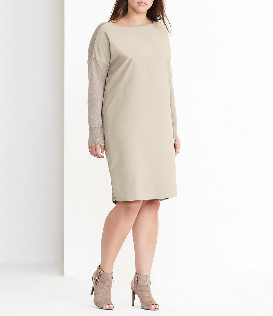 Lauren Ralph Lauren Plus Twill-Front Sweater Dress