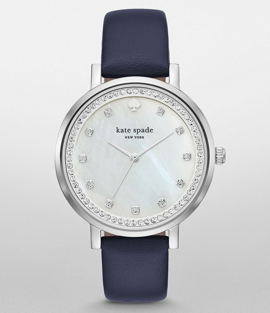 kate spade new york Monterey Mother-of-Pearl Leather-Strap Watch