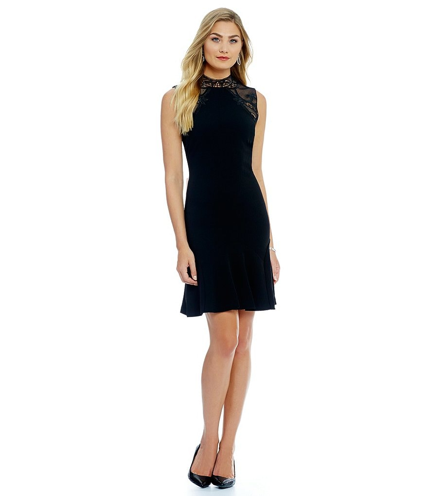Ivanka Trump Lace Neck And Shoulder Scuba Crepe A-Line Dress