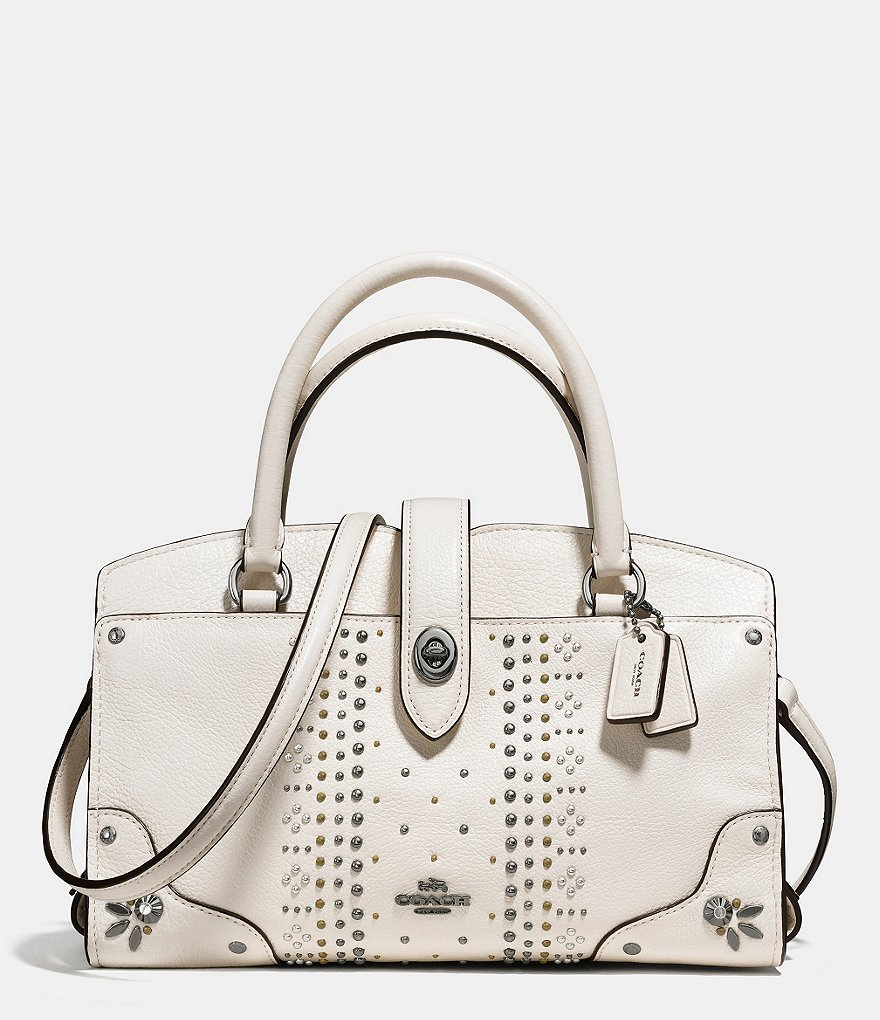 COACH BANDANA RIVETS MERCER SATCHEL 24 IN GRAIN LEATHER