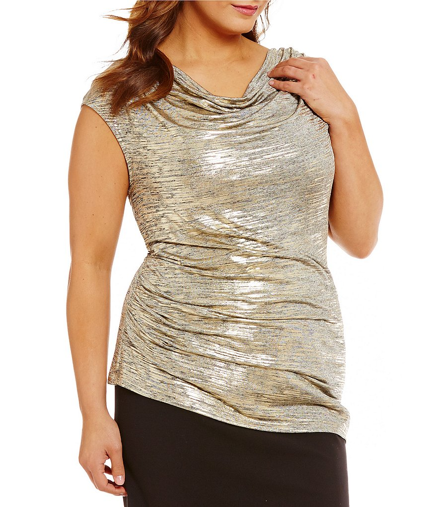 Calvin Klein Plus Cowl Neck Metallic Sleeveless Shell