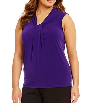 Calvin Klein Plus Solid Knotted V-Neck Matte Jersey Shell