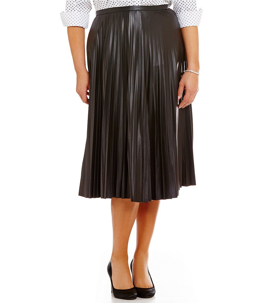 Lauren Ralph Lauren Plus Faux-Leather Pleated A-Line Midi Skirt