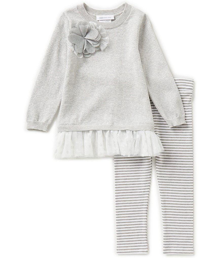 Bonnie Jean Little Girls 2T-6X Flower Appliqué Sweater Dress and Pants Set