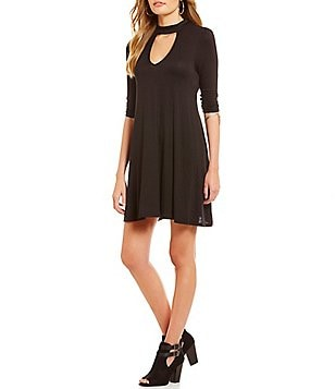 Soulmates Gigi Choker Neck Jersey Knit Shift Dress