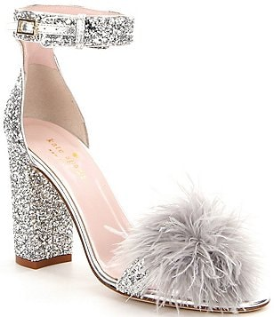 kate spade new york Ilona Glitter Pom-Pom Ankle-Strap Dress Sandals