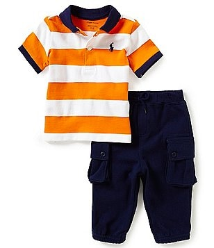 Ralph Lauren Childrenswear Baby Boys 3-24 Months Striped Polo Shirt & Solid Jogger Pants