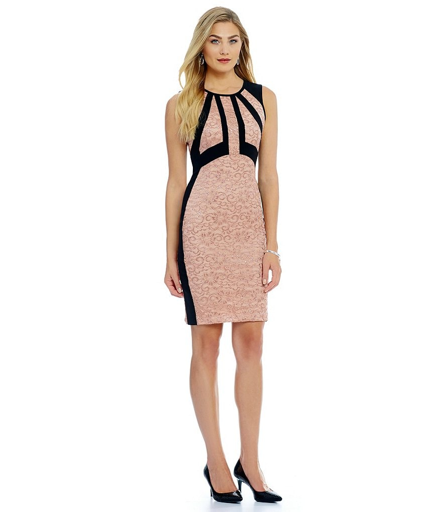 Ivanka Trump Framed Metallic Floral Lace Sheath Dress