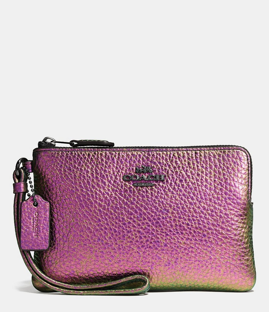 COACH BOXED CORNER ZIP WRISTLET IN HOLOGRAM LEATHER