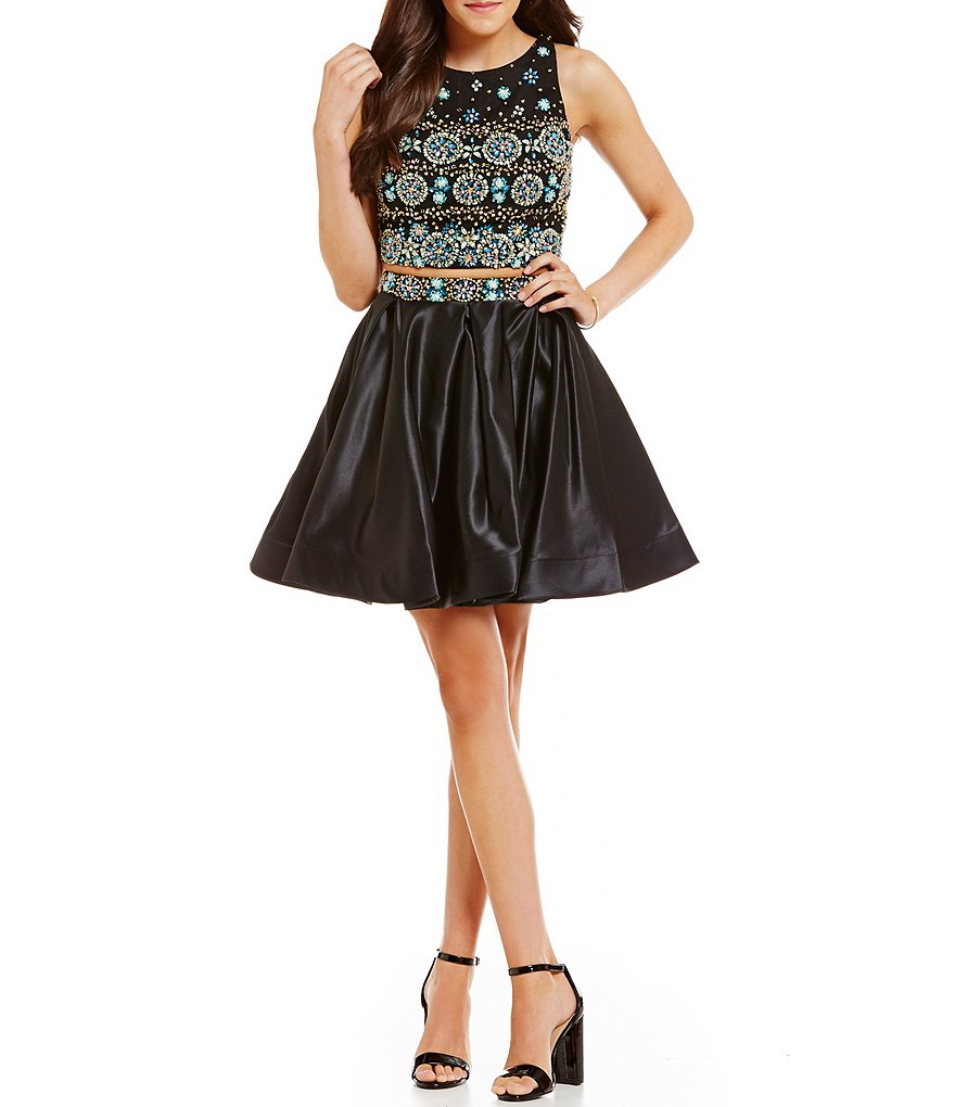 Coya Collection Satin Skirt Beaded Bodice Two-Piece Party Dress