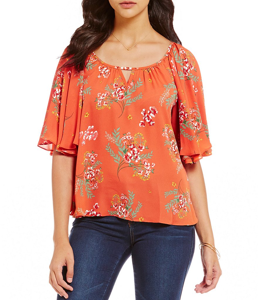 Copper Key Woven Floral Printed Flutter Sleeve Blouse