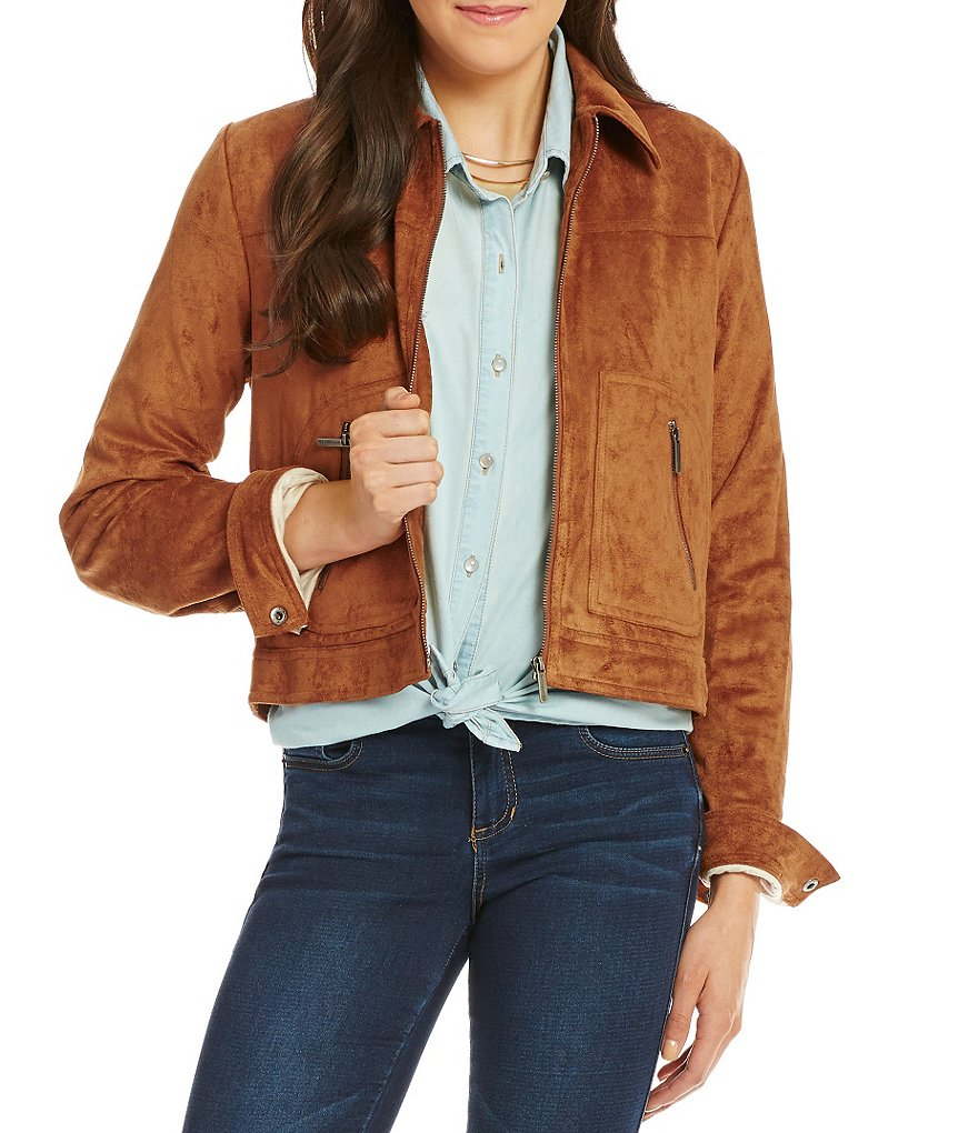 Copper Key Faux-Suede Bomber Jacket