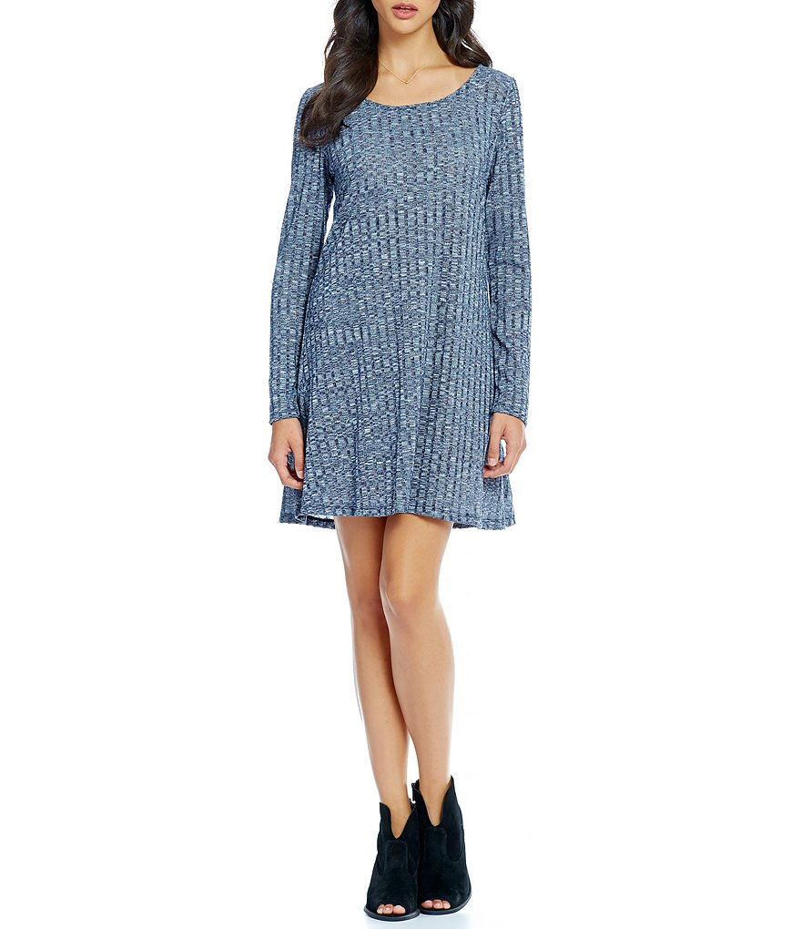 Copper Key Long-Sleeve Space-Dyed Ribbed Knit Shift Dress