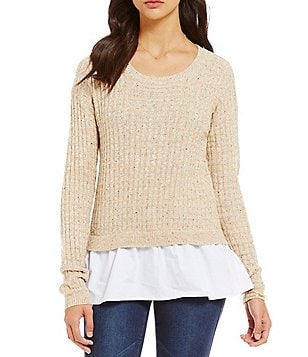 Copper Key Speckled Knit Pullover