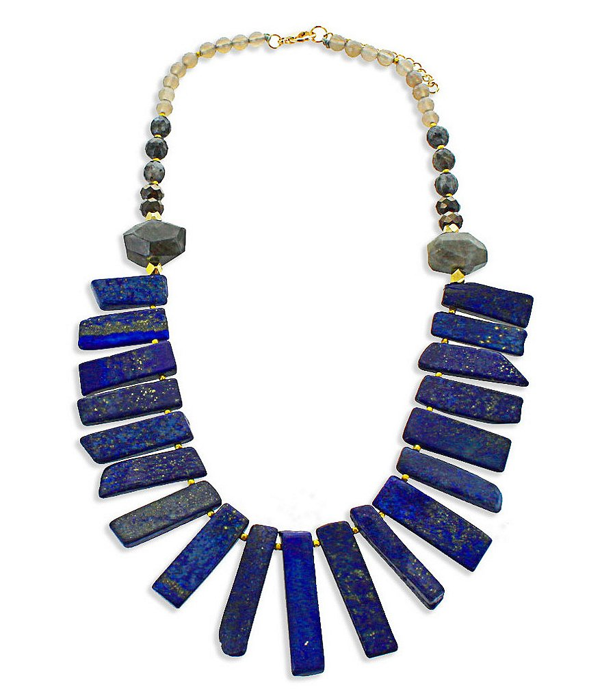 Panacea Lapis & Laboradite Stick Statement Necklace