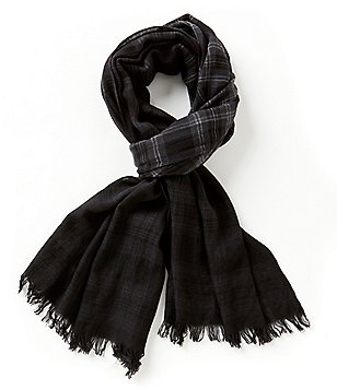 John Varvatos Star USA Dip-Dyed Plaid Wool Scarf