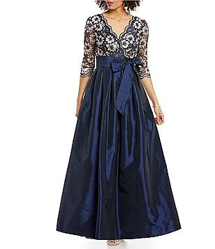 Jessica Howard V-Neck 3/4 Sleeve Lace Taffeta Ballgown