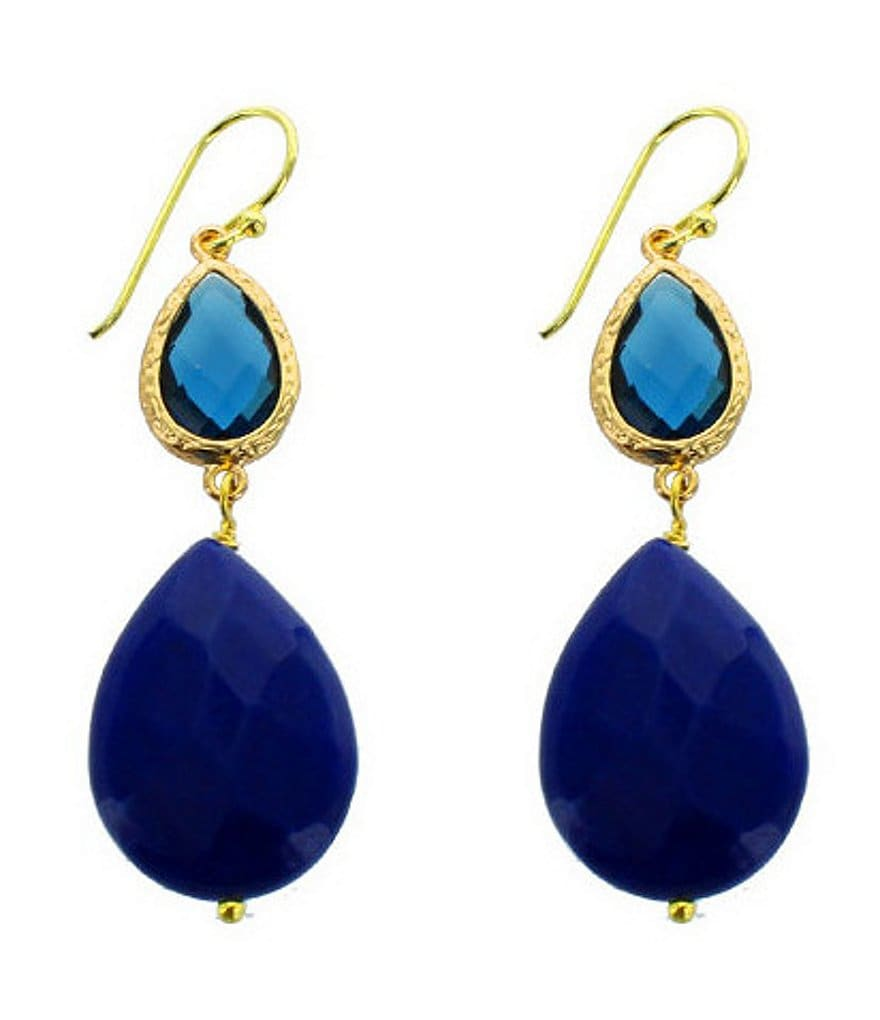 Panacea Agate & Crystal Double-Drop Earrings