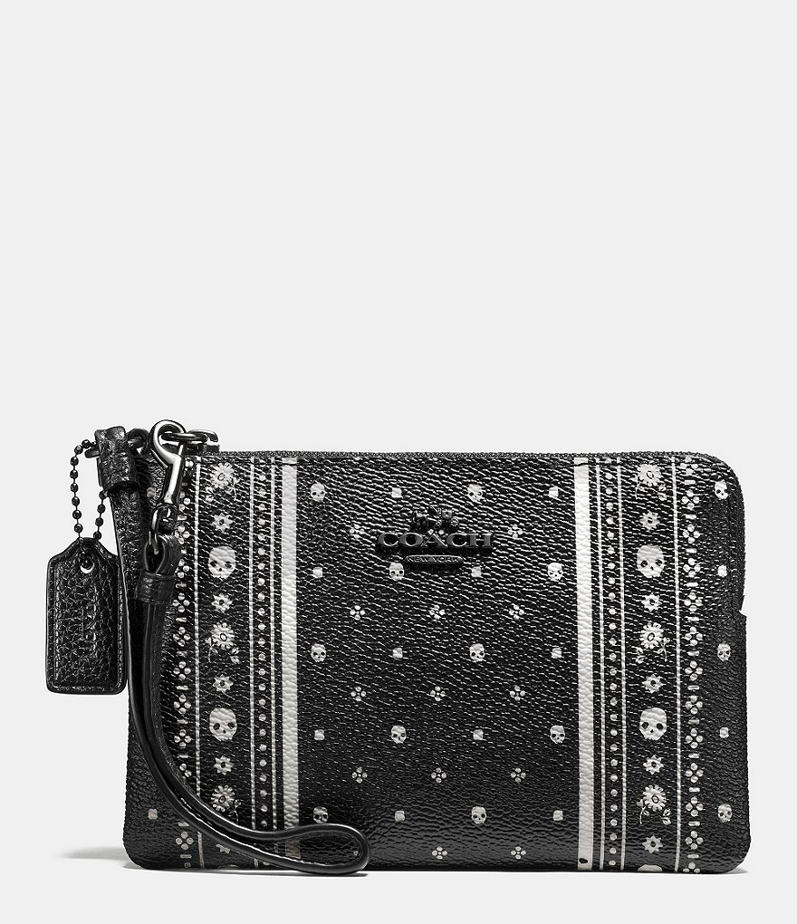 COACH CORNER ZIP WRISTLET IN SKULL BANDANA PRINT LEATHER