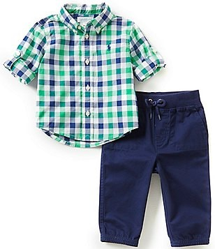 Ralph Lauren Childrenswear Baby Boys 3-24 Months Plaid Poplin Shirt & Chino Jogger Pant Set