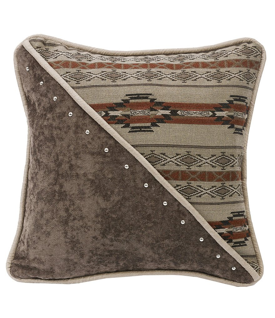HiEnd Accents Silverado Studded Paneled Geometric & Chenille Square Pillow