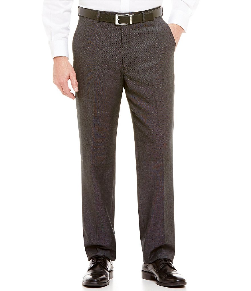 Hart Schaffner Marx Chicago Classic-Fit Flat Front Tic Pattern Dress Pants