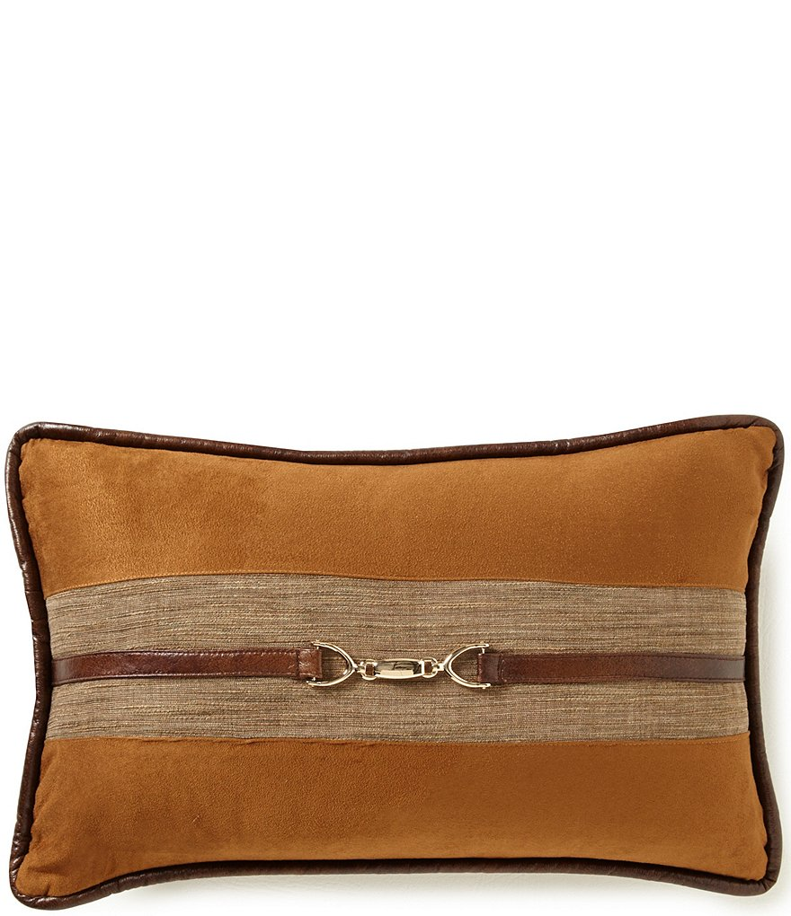 HiEnd Accents Hill Country Buckled Faux-Suede Breakfast Pillow