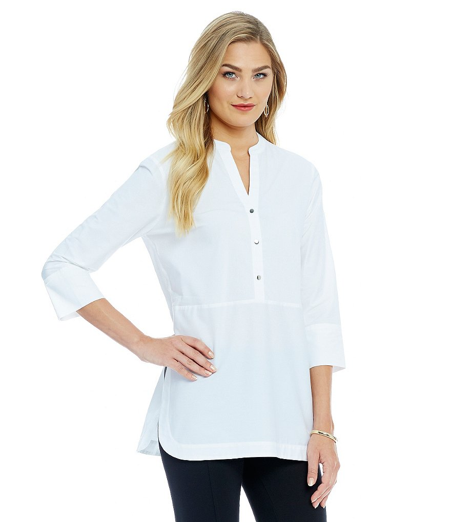 Ivanka Trump Stretch Poplin Band Collar Tunic