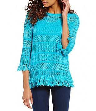 Chelsea & Theodore Crew Neck 3/4 Sleeve Fringe Hem Solid Pullover Top