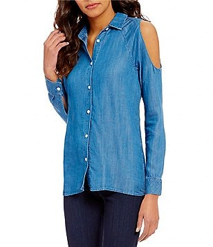 Chelsea & Theodore Point Collar Long Sleeve Cold-Shoulder Chambray Blouse