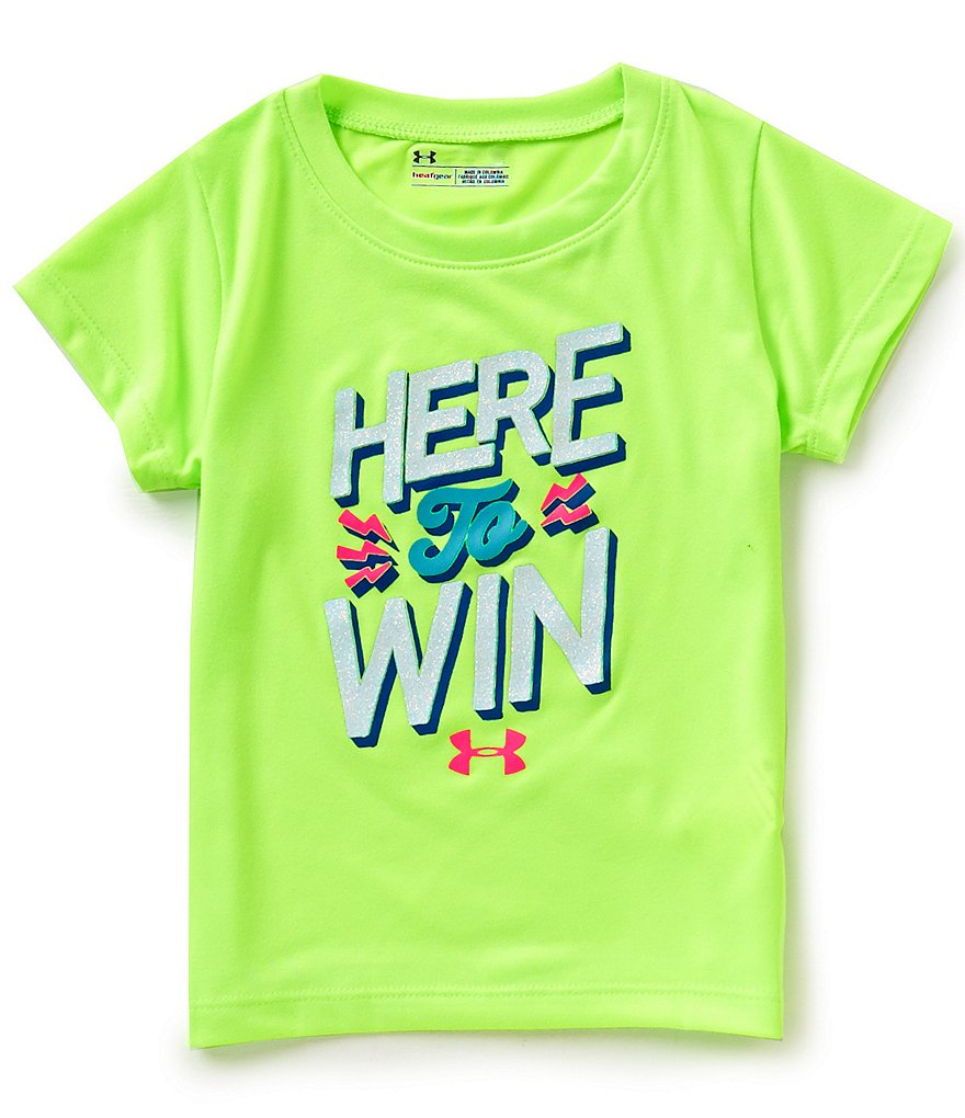 Under Armour Little Girls 2T-6X Here To Win Graphic Tee
