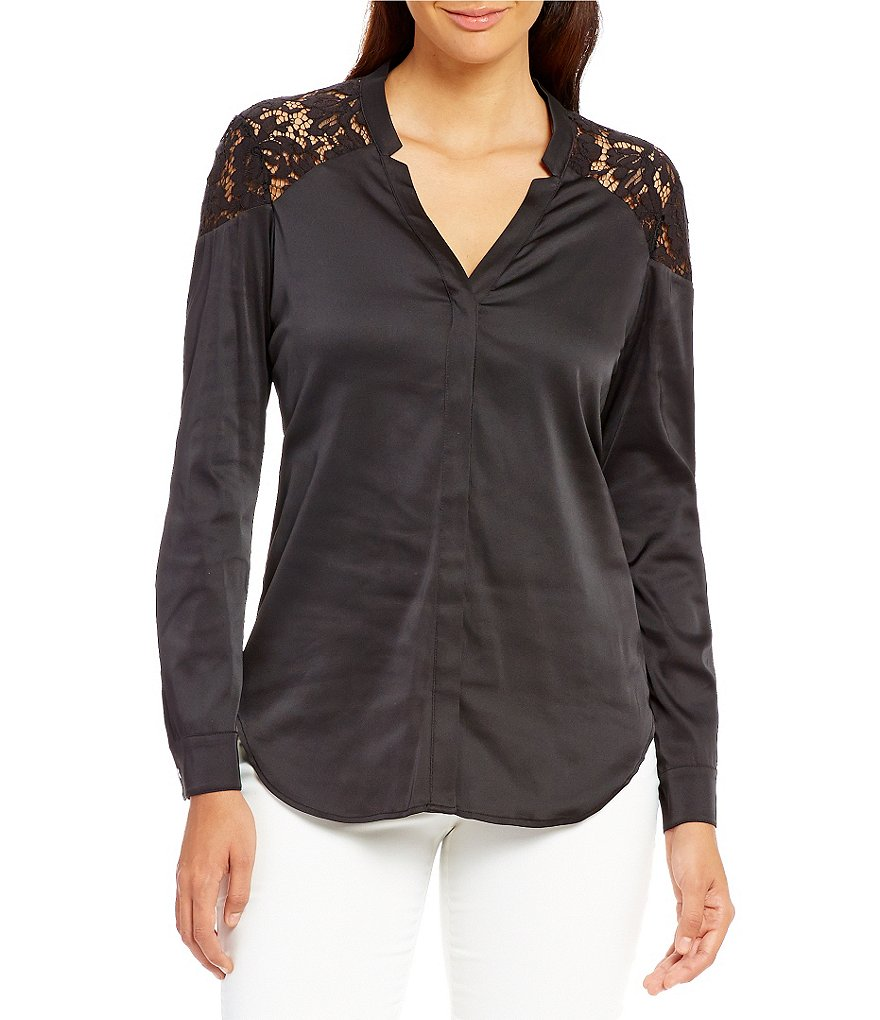 Ivanka Trump Long Sleeve Lace Shoulder Charmeuse Blouse