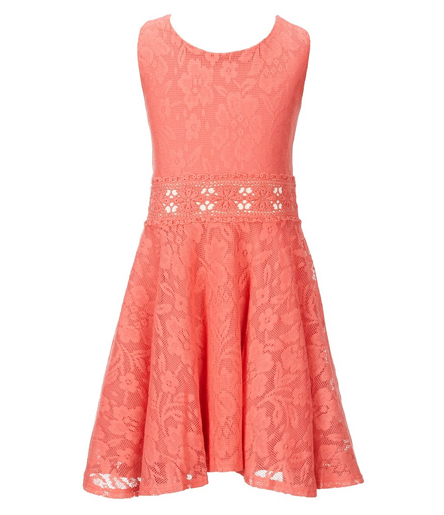Copper Key Big Girls 7-16 Floral Lace & Crochet Fit-and-Flare Dress