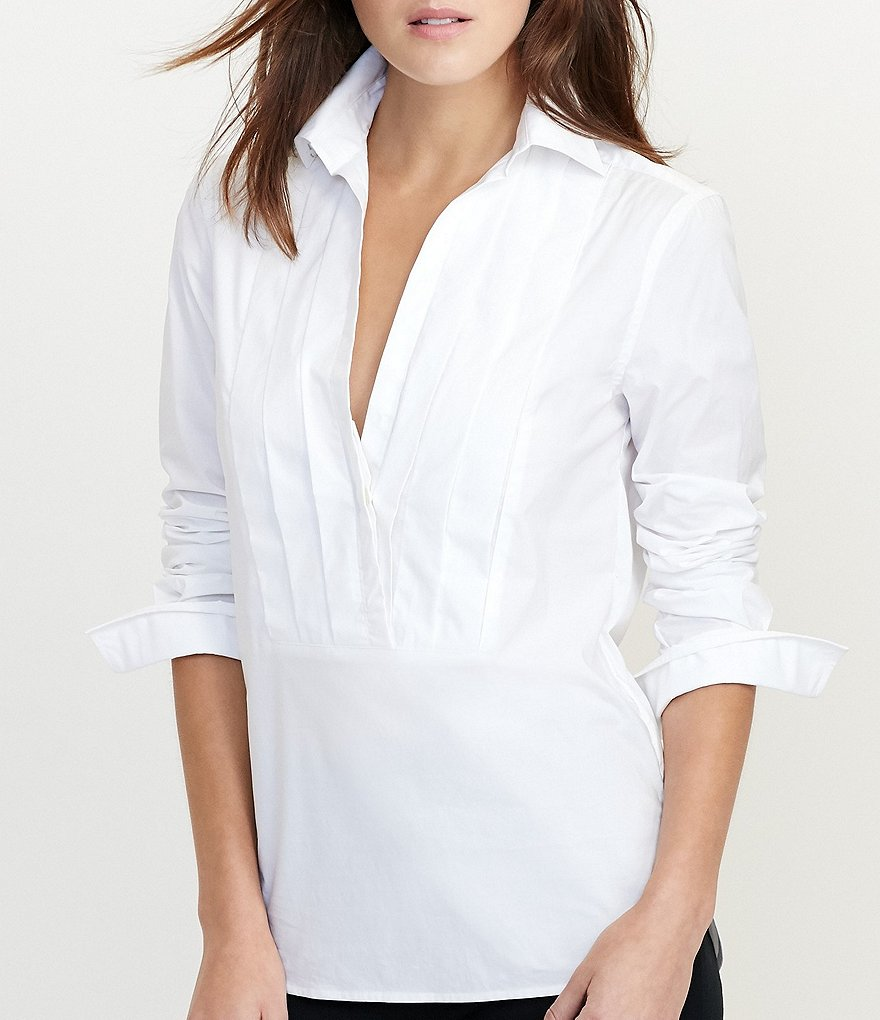 Lauren Ralph Lauren Pleated-Front Cotton Tunic