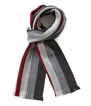 Hickey Freeman Striped Wool Scarf