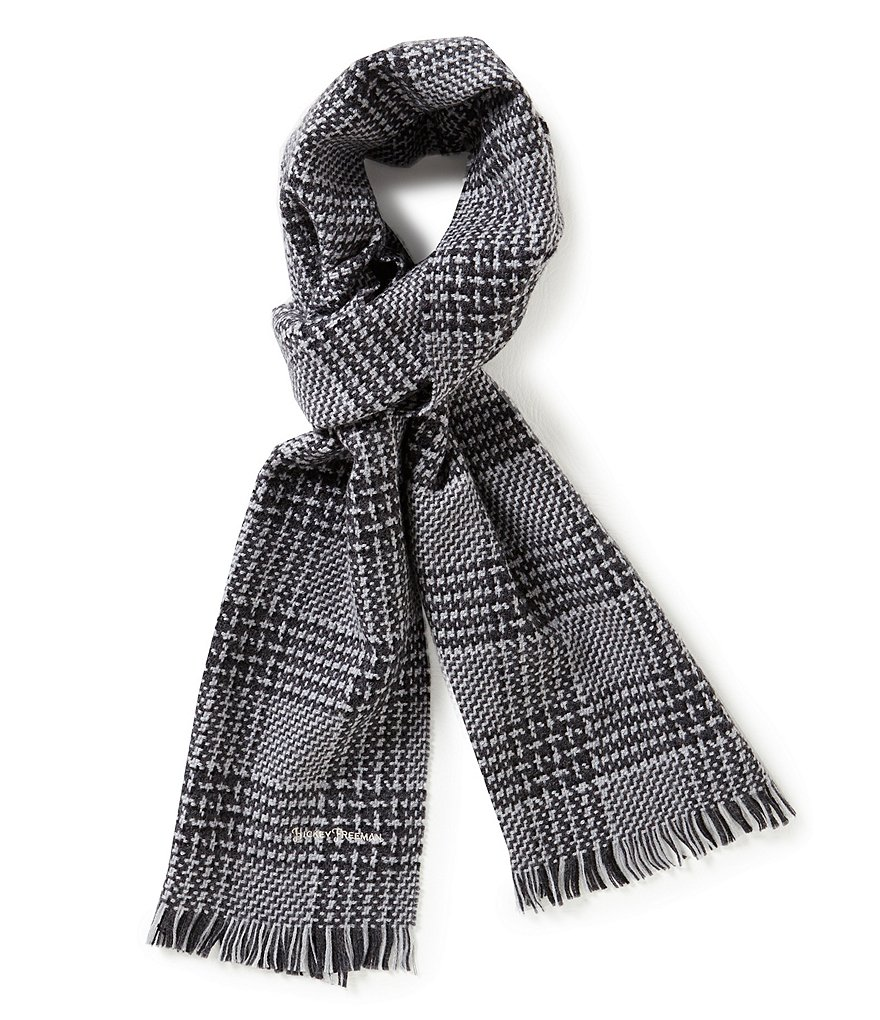 Hickey Freeman Tonal Plaid Wool Scarf
