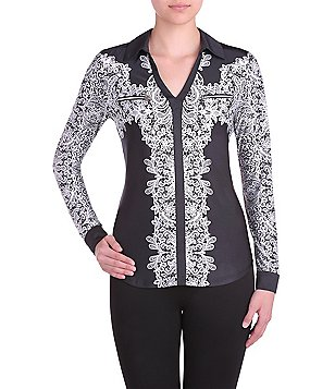 Peter Nygard Printed V-Neck Zipper Chest Pocket Shirt