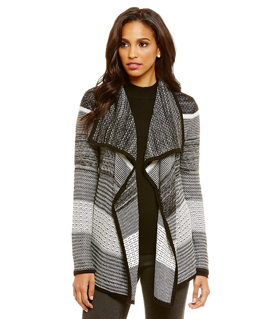 Ivanka Trump Textured Stripe Open Drape Front Cardigan