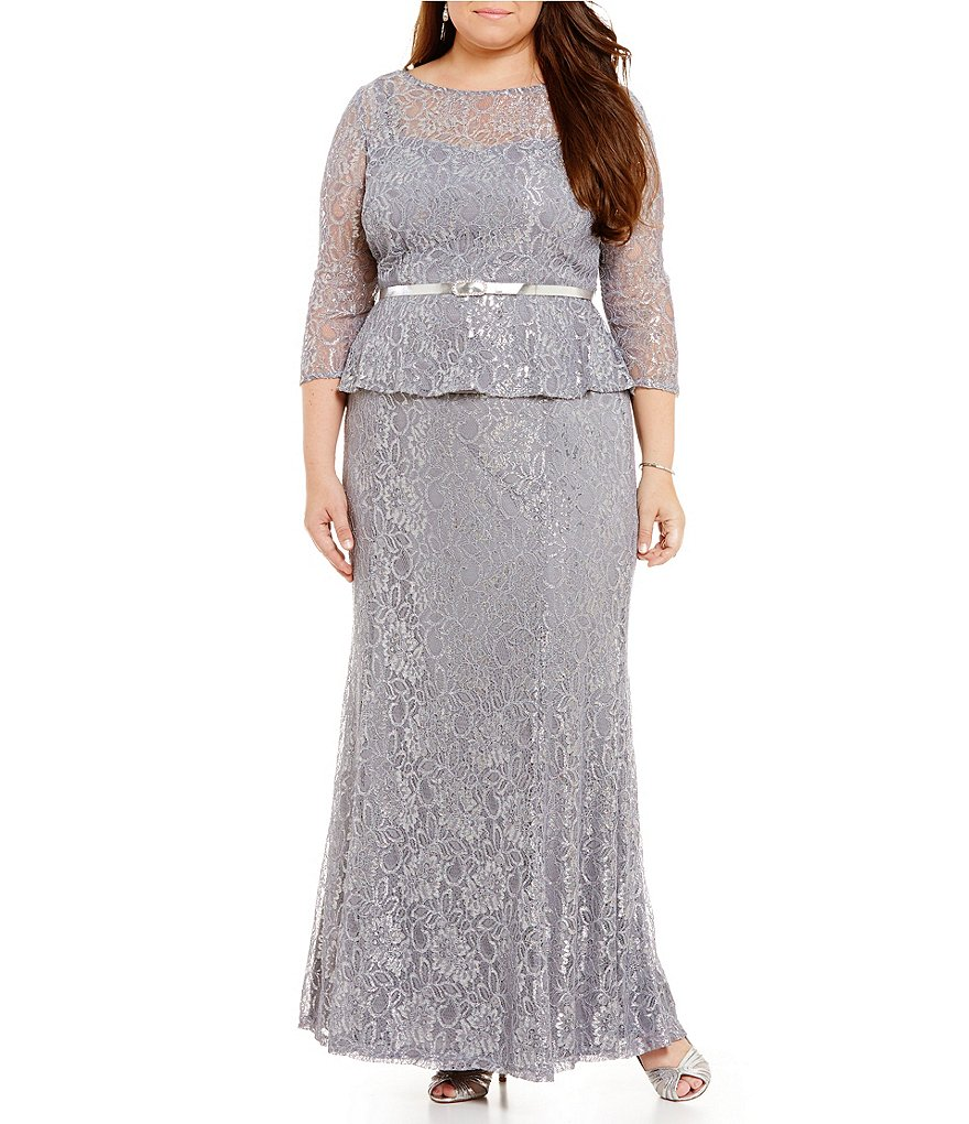 Emma Street Plus Lace Metallic Belted Top & Full Skirt