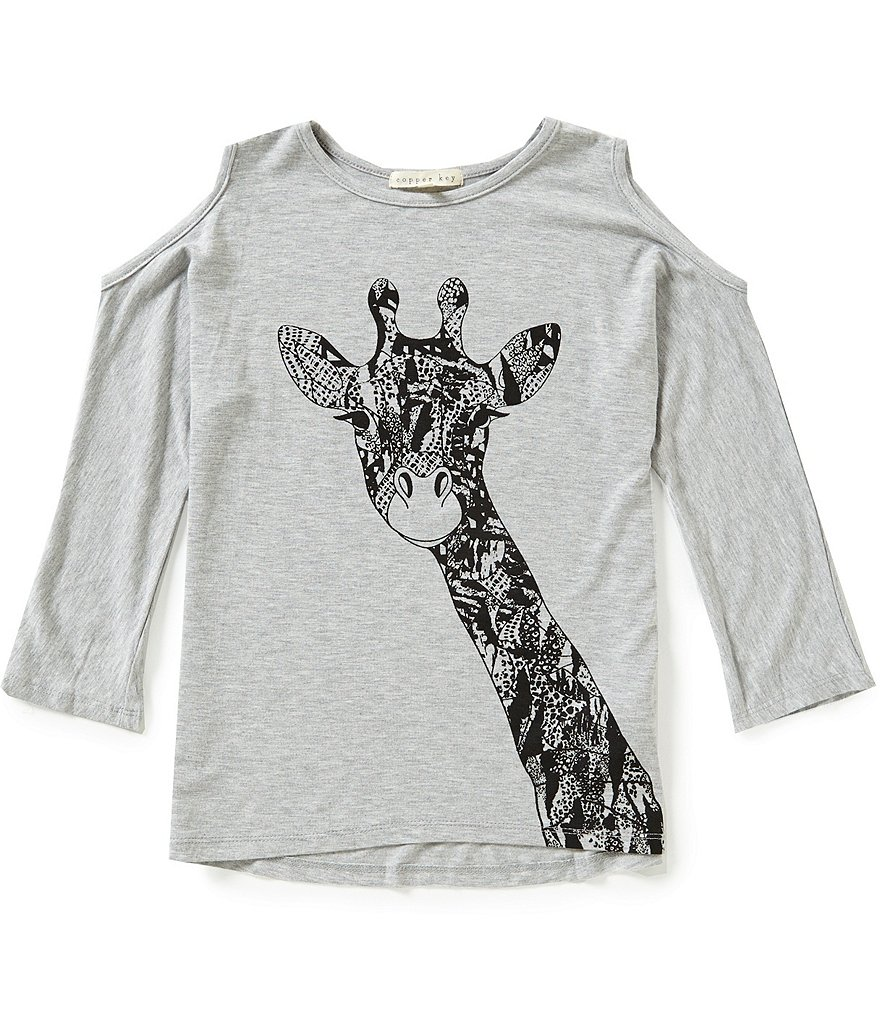 Copper Key Big Girls 7-16 Giraffe Cold-Shoulder Tee