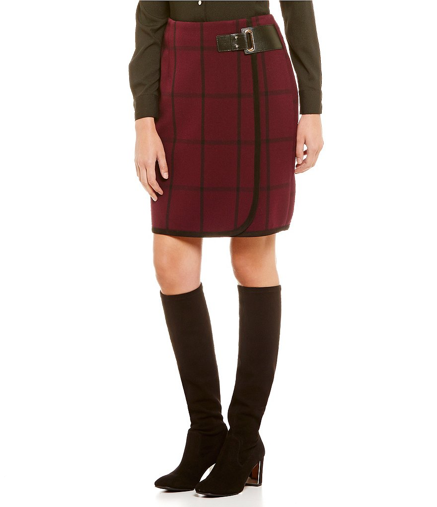 Ivanka Trump Windowpane Plaid Scuba Crepe Knit Faux-Leather Trim Wrap Skirt